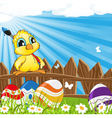 Little cartoon chicken with paintbrush vector image vector image