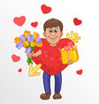 Man in a heart suit with flowers and gift in hands vector image