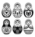 Matryoshka Russian doll icons set vector image
