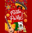 mexican sombrero guitar and maracas fiesta party vector image vector image