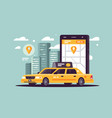 modern taxi call using smartphone and online vector image vector image