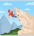 mountain climber on hills poster with male vector image vector image