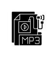 mp3 audio file black glyph icon vector image vector image