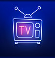 neon retro tv logo with red blue color on smooth vector image vector image
