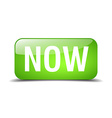 now green square 3d realistic isolated web button vector image vector image