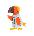 parrot doctor wearing white lab coat with vector image vector image