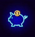 piggy coin neon sign vector image