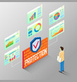 protection reports isometric flow chart vector image