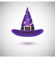 Purple witch hat for Halloween vector image