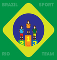 Rio Brazil Sport and Team card with first second a vector image