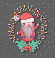 santa claus with lights and candy cane vector image