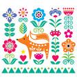 scandinavian cute folk art pattern w vector image vector image