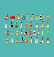 set different bottles alcohol drinks with vector image vector image
