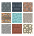 set seamless patterns with stones and bricks vector image