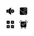 smartphone interface black glyph icons set vector image