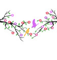 spring birds tree flower background vector image vector image