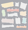 taped paper ripped pieces white and colored vector image vector image