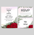 template for wedding invitation red rose flowers vector image vector image