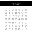 time location outline icon set vector image vector image