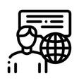 travel company representative icon outline vector image vector image