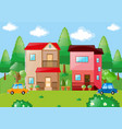 two houses with in the field vector image