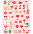 Valentine icons in a flat style vector image vector image