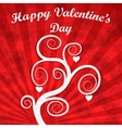 Valentines Day Card - White tree with hearts vector image