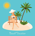 Woman sits on deckchair with cocktail in hand vector image