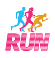 run silhouettes of running men and woman on white vector image