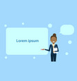 african american businesswoman pointing to empty vector image vector image