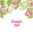 background pink flowers and leaves vector image vector image