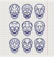 ballpoint pen mexican skull set vector image vector image