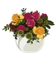Beautiful bouquet of red and yellow roses in vase vector image vector image