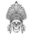 black and white drawing a human skull in a vector image vector image
