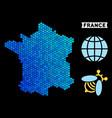 blue hexagon france map vector image