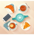 Breakfast for two with tea apricot pie and vector image