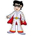 cartoon elvis impersonator vector image