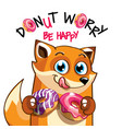 cartoon fox with donuts vector image vector image