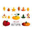 colorful seasonal fall elements hand drawn vector image