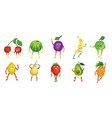 cute and funny fruit character set flat vector image vector image
