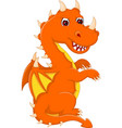 cute baby dragon cartoon sitting with look up vector image vector image