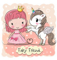 cute cartoon fairy tale princess and unicorn vector image vector image