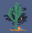 cute cartoon with high saguaro cactus and liitle vector image