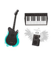 flat music symbol piano guitar loudspeaker vector image