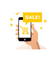 flat simple with human hand holding smartphone vector image vector image