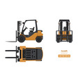 forklift in realistic style top side front view vector image