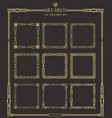 frames set art deco gold calligraphic page vector image