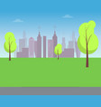 green lawn with trees and silhouettes of buildings vector image vector image