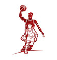 group basketball players action cartoon graphic vector image