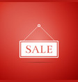 hanging sign with text sale icon on red background vector image vector image